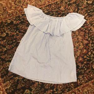 Zara Woman pinstripe off the shoulder ruffle dress